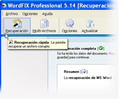Recuperar archivos de Word con WordFIX de Cimaware ...