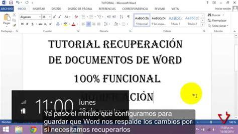 Recuperar cambios y documentos de Word 2013   YouTube