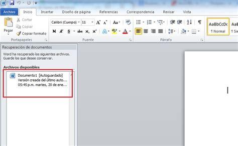 Recuperar documentos sin guardar en Microsoft Word ...