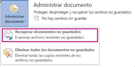 Recuperar una versión anterior de un archivo de Office ...
