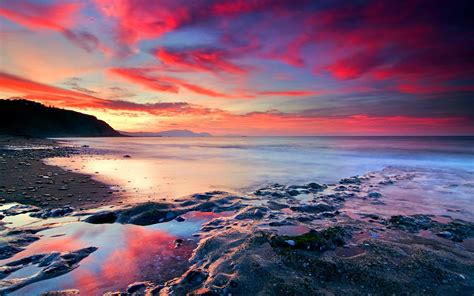 Red Clouds wallpaper | beach | Wallpaper Better