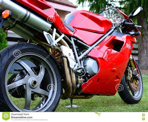 Red Ducati 996s Motorcycle In A Garden Editorial Stock ...
