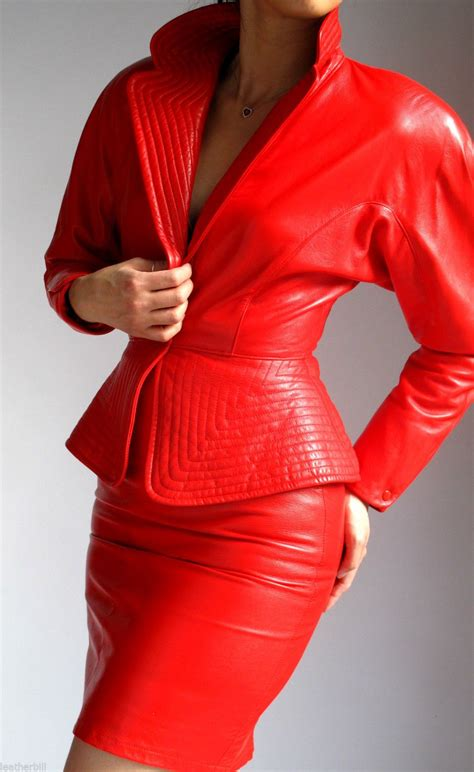 RED LEATHER DRESS SUIT   RIBBED JACKET and SKIRT   EREZ ...
