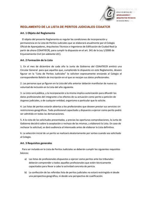 reglamento lista peritos judiciales   Colegio Oficial de ...