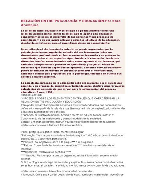 Relación Entre Psicología y Educación  1    Psyche ...