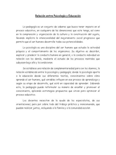 Relación Entre Psicología y Educación