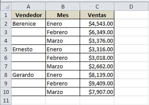 Rellenar celdas en blanco en Excel   Excel Total