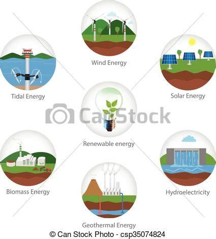 Renewable energy types EPS Vector   csp35074824