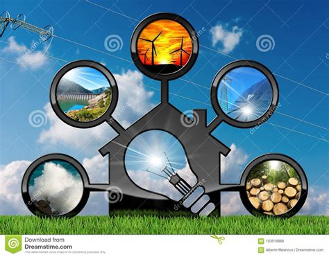 Renewable Resources And House With Light Bulb Stock Photo ...