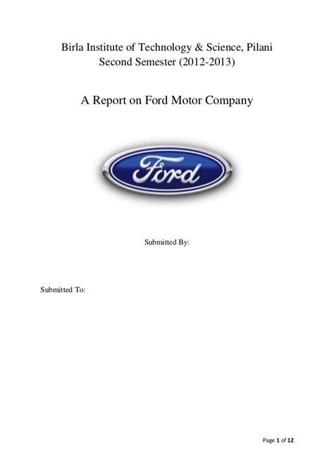 Report on ford motor company  POM
