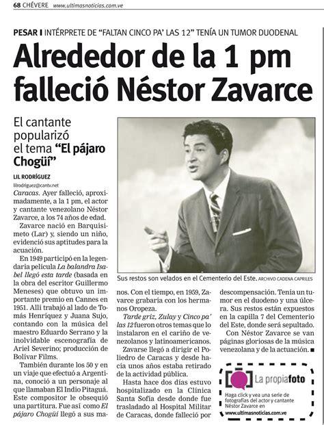 Reseña del diario Últimas Noticias sobre la muerte de ...