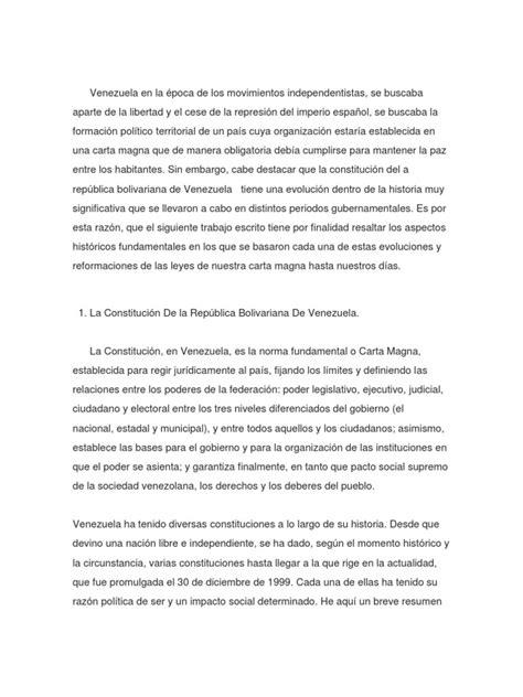 reseña histórica de la constitucion de venezuela ...
