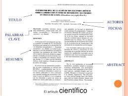 Resultado de imagen para modelo de un articulo cientifico