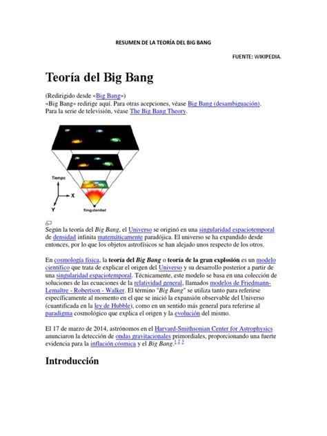 Resumen de La Teoría Del Big Bang | Big Bang | Universo