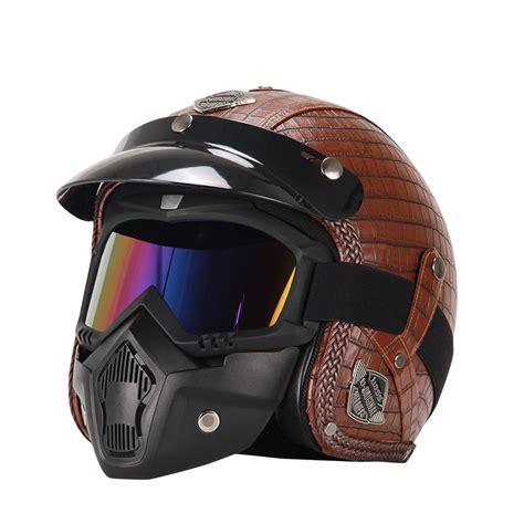 Retro Vintage Motorcycle Helmet Synthetic Leather 3/4 Open ...