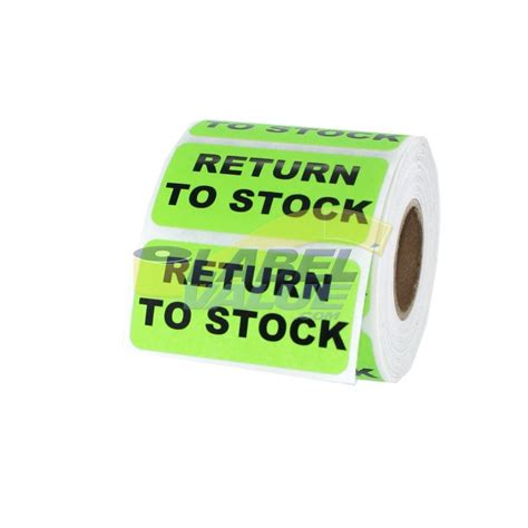 Return to Stock Inventory Label, 2 x 1 fluorescent green ...