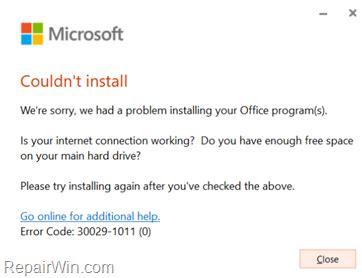 REVISIÓN: Error 30029 1011  0    No se pudo instalar el ...