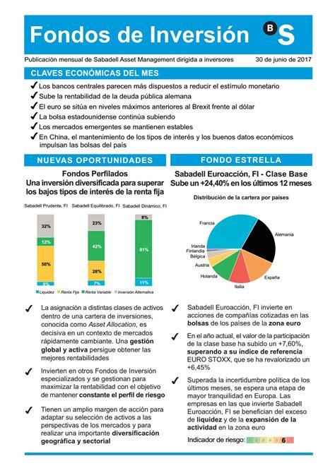 Revista Fondos de Inversión   julio 2017 by Banco Sabadell ...