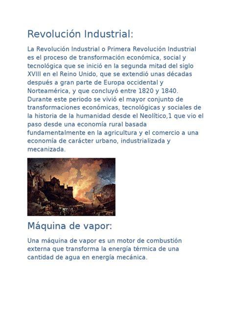 Revolución Industrial resumen corto