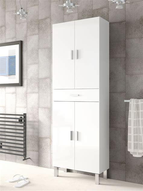 Rimini Tall Bathroom Cupboard White Gloss