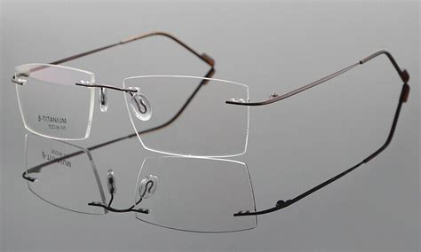 Rimless β Titanium Eyeglass Frame Mens Ultra light RX ...