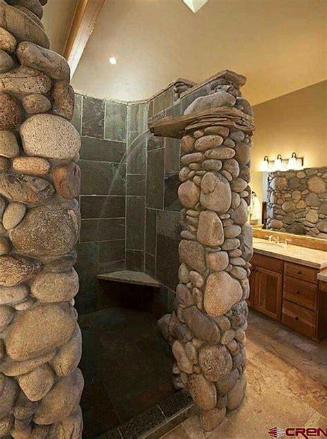 River rock bathroom... | Rustic master bathroom, Rustic ...