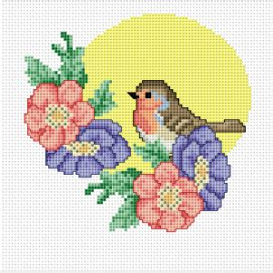 Robin with flowers free cross stitch pattern https://docs ...