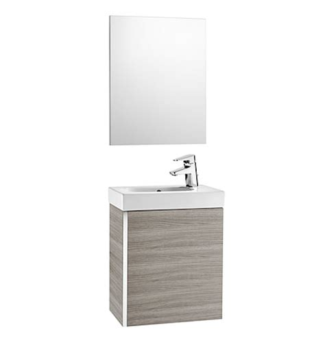 Roca Mini 450mm Vanity Unit With Basin And Mirror Textured ...