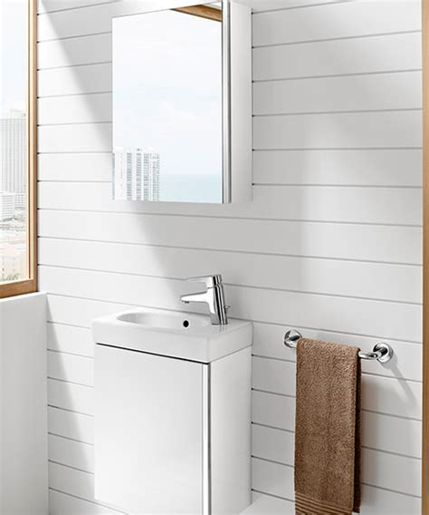 Roca Mini Basin And Unit With Mirrored Cabinet   Gloss White