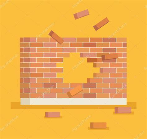 Romper la pared de ladrillo con agujero. Vector plano ...