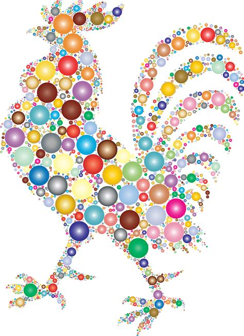Rooster made from Colorful Orbs vector clipart image ...