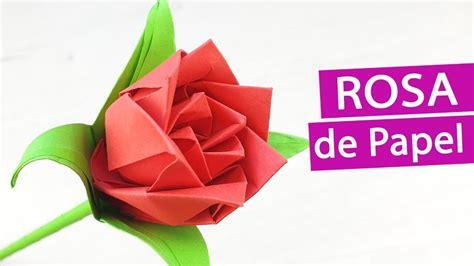 Rosa papel fácil y rápida   Flores de papel con Origami ...