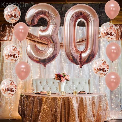 Rose Gold 30 Cumpleaños Decoraciones Paquete De 21 | Glob ...
