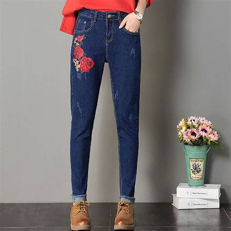 Rose Pattern harem pants Stretch Embroidered Jeans Women ...