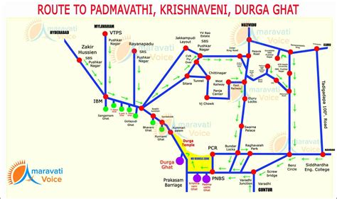 Route Map to Padmavathi, Krishnaveni and Durga Ghat in ...