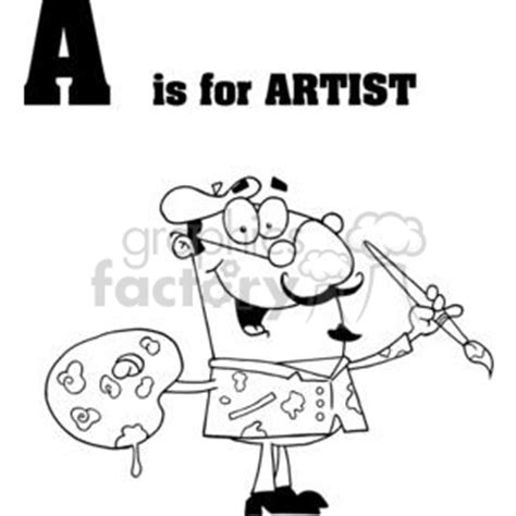 Royalty Free Alphabet letter A artist with brush and ...