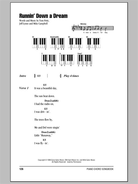 Runnin  Down A Dream Sheet Music   Tom Petty   Piano ...
