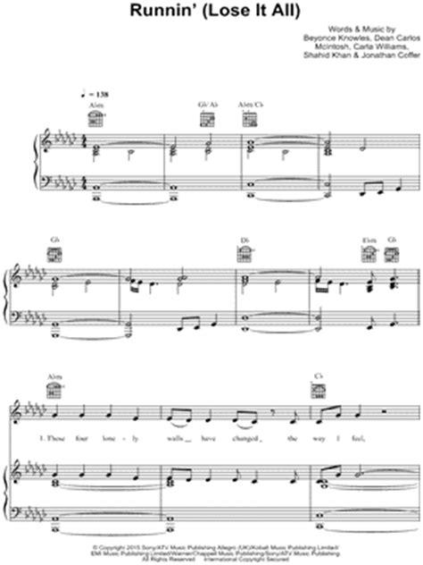 Runnin   Lose It All   Sheet Music   3 Arrangements ...