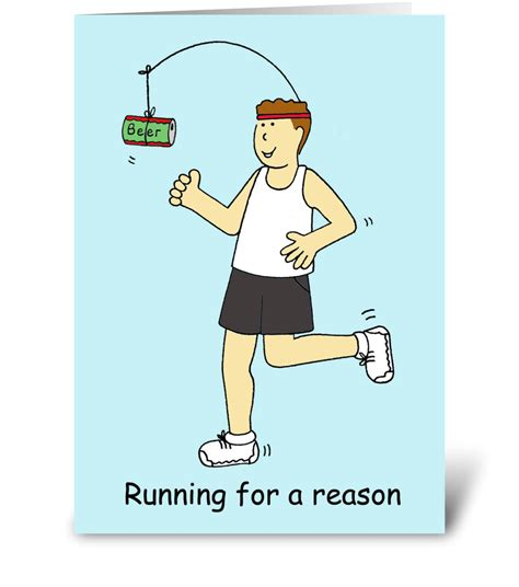 Running humor, man running for beer.   Send this greeting ...