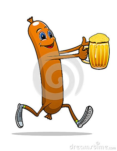 Running Sausage With Beer Stock Vector   Image: 41850884