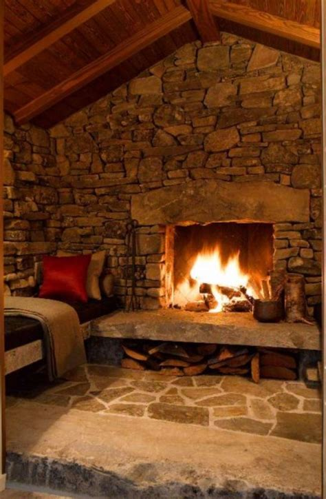 Rustic Stone Fireplace | Old fireplaces | Cabin fireplace ...
