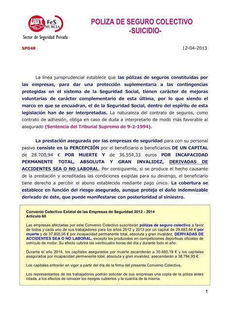 S. S. U.G.T. LOOMIS MURCIA: SP048 POLIZA DE SEGURO COLECTIVO
