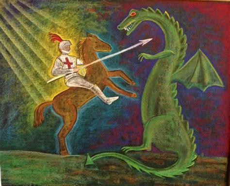 Saint George and the Dragon blackboard drawing | Waldorf ...
