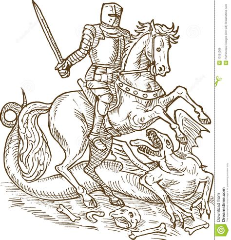 Saint George knight dragon stock illustration ...