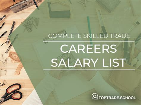 Salary List For Skilled Trade & Tech Jobs | Physical ...