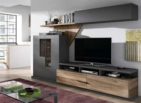Salón moderno con muebles oscuros gran capacidad ...