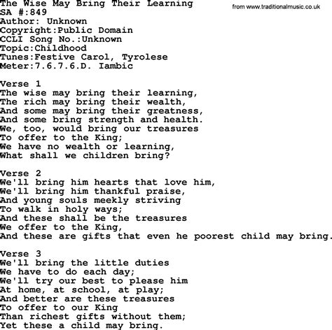 Salvation Army Hymnal Song: The Wise May Bring Their ...