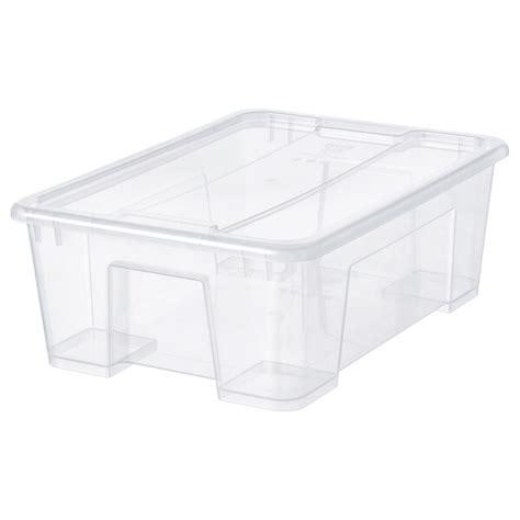 SAMLA Caja con tapa, transparente, 39x28x14 cm/11 l   IKEA