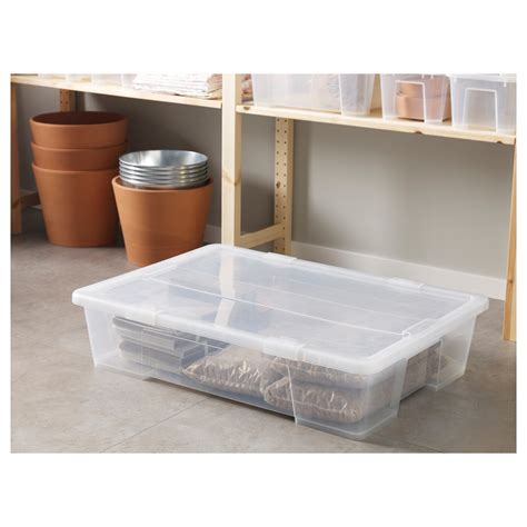 SAMLA Låda med lock   transparent   IKEA