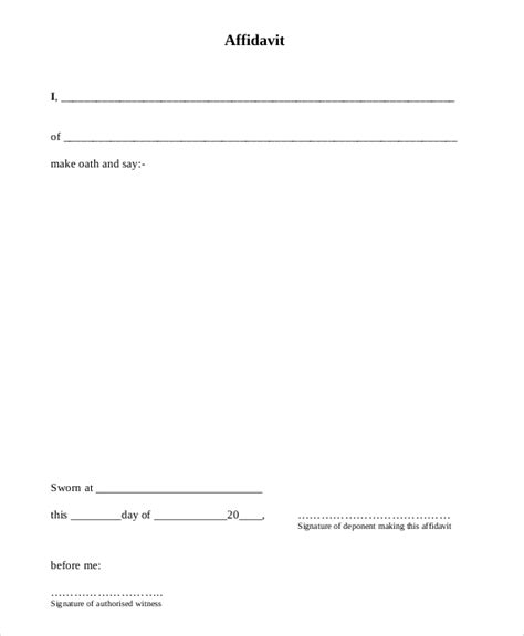 Sample Sworn Affidavit Form   6+ Documents in PDF